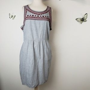 Old navy embroidered gray flannel dress